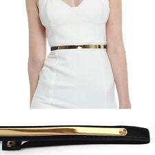 Bling Women Skinny Thin Metal Gold Plate Mirror Waist Elastic Stretch Belt Dress