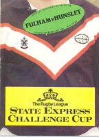 FULHAM v HUNSLET 1982 CHALLENGE CUP - 1st Round RUGBY LEAGUE PROGRAMME