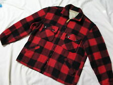 VTG Sears Full Zip Buffalo Red Plaid  Jacket sz Medium Lumberjack unlined coat