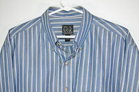 Jos A Bank Tailored Fit Traveler's Collection Shirt Blue/White Striped Men's L