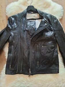 💥NEW £800  Burberry Brit Leather Biker Jacket. Black. Size S (or EU 46)