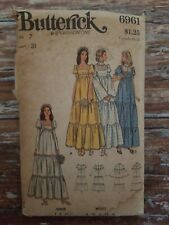 Butterick 6961 Vintage 70' Juniors Size 7 Boho Tiered Wedding Bridesmaids dress