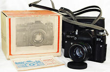 ZENIT ET Dark Grey Russian SLR camera USSR w/Box case lens M42 HELIOS 44M-4 GOOD