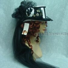 Victorian Steampunk Edwardian riding top hat black and white 14003