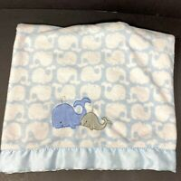 Just One You Carters Blue White Whales Blanket Sherpa Satin Trim Mama & Baby