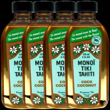 4 MONOI TIKI TAHITI AVEC FLEUR 120ML DONT 1 GRATUIT HUILE MONOÏ PARFUMÉE COCO