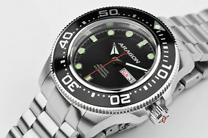 ARAGON Highly Revered 50mm DiveMaster 20ATM Black AUTOMATIC Watch A054BLK