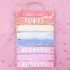 DANCE WITH FAIRIES~RIDE A UNICORN~CHASE RAINBOWS~SWIM WITH MERMAIDS FAIRY PLAQUE