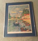 Pointillism Ltd Ed Lithograph Signed by Artist & Framed Men in a Sailboat