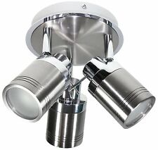 IP44 3 Head Directional Spot Light Bathroom Fitting GU10 Bulb Chrome and Brushed