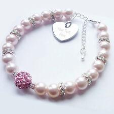 Personalised Baby Pink Engraved Shamballa Bracelet Flower Girl Bridesmaid Gift