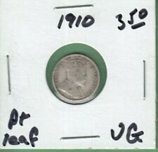 1910 Canada 5 Cents Silver Coin - Pointed Leaves - VG