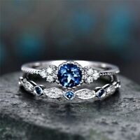 Womens Round Cut Sapphire Engagement Ring Silver Plate Wedding Band Size6-10