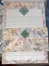 Vintage Powder Blue Textured Stationary Paper Envelopes + 2 Sets & White Sheets