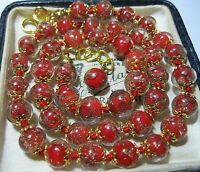 """Red Venetian Murano Glass Gold Foil Bead Vintage Style 18"""" Long NECKLACE"""