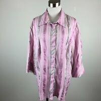 Lane Bryant 18 20 Shirt Blouse Striped Pink Gray 3/4 Sleeve Stretch