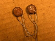 2 Nos Vintage 1950s Trw Ceramic Disk .01 uf 500v Guitar Capacitors Test .009