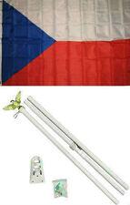 3x5 Czech Republic Flag White Pole Kit Set 3'x5'
