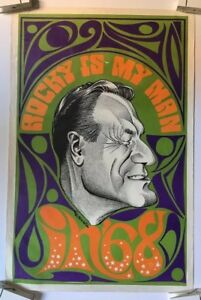 Vintage Poster Rocky Is My Man '68 Rockefeller Political Psychedelic 60's Pin-Up