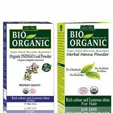 Bio Organic Natural Indigo Powder and Henna Powder Combo for Black Hair Colour (