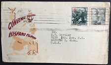 Spain cover 1952 Spanish Philippino Postal Convention sent Valencia to USA