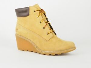 Womens Timberland Amston 6 Inch Wedge 8251A Wheat Leather Ladies Boots