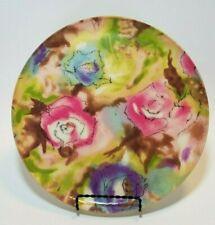 """Vintage Fiberglass Tray Pink Blue Rose Design Round 11"""" Serving Platter"""