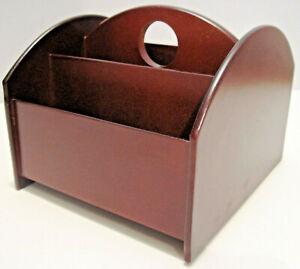 New Revolving TV Caddy Remote Control Organizer Wooden Storage Holder Box