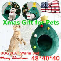 Soft Dog Cat Cave Bed Christmas Tree Shape Semi Closed Pet Nest House Warm US