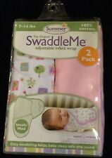 Baby SUMMER Swaddle Me ADJUSTABLE INFANT/BABY WRAP 2 PACK S/M Birds Butterfly