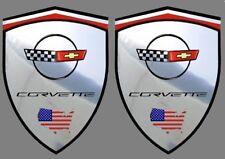 2 adhésifs sticker chrome CORVETTE C4  (idéal ailes avant) C 4