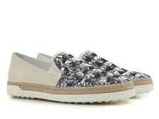 Tod's women's slip-ons sneakers blu paiette and beige leather Size US 5 - EU 35