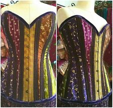 Gypsy steel boned corset sari multicolored brocade burlesque steampunk victorian
