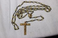 Vintage Catholic 59 Beads Old Mother of Pearl Rosary Religieuse  Cross Croix