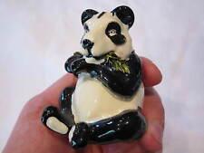 VINTAGE ENAMELED PANDA BEAR FIGURINE EATING BAMBOO