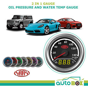 SAAS 2 in 1 Digital Analogue Dual Face Trax Gauge Oil Pressure and Water Temp