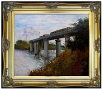 Framed, Monet Railway Bridge at Argenteuil, Hand Painted Oil Painting 20x24in