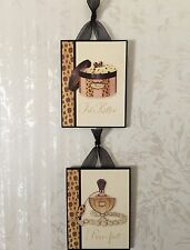 2 French Cheetah Perfume Plaques Wall Decor French Cottage Shabby 4 1/2 x 5 3/4