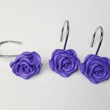 New Decorative Rose Flower Resin Floral Rolling Shower Curtain Hooks Rings DM