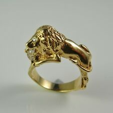 R3634 Unique Engagement Ring Champagne Fancy Diamond Lion Panther 14K Gold Cat