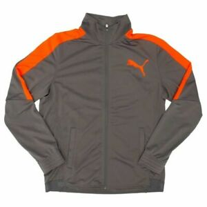 Puma Men's Contrast Jacket 838605 43 M MEDIUM GRAY NEON ORANGE NEW *252
