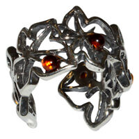 5.75g Authentic Baltic Amber 925 Sterling Silver Ring Jewelry N-A7540