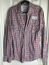 Scotch & Soda Scotch Company Red Plaid Long Sleeve Shirt-Size XL-pearl snap
