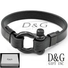 """DG Men's 8"""" Stainless-Steel Black HORSESHOE,Leather Bracelet*Unisex.BOx"""
