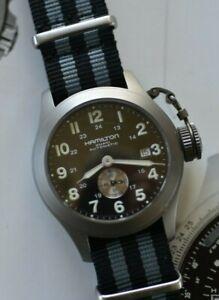 """Hamilton Caqui Marino """"Frogman"""" Mil H774450 Automático Titanio Reloj Menta Caja"""