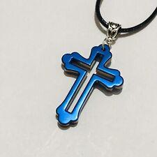 "Blue Titanium Hollow Cross Stone Pendant & 16"" Black Cord Chain Necklace Unisex"