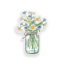 Daisy Flower Mason Jar Sticker Car Vehicle Window Bumper floral Cup Cooler Decal
