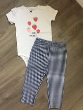 Carters Baby Girl 2 Piece Set Bodysuit & Gingham Leggings. Size 24 Months