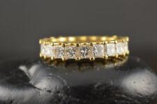 2.86 Ct Princess Cut Diamond Wedding Eternity Band 14K Yellow Gold Ring Size N P