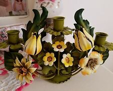 Vtg Toleware Metal Flowers Candle Holder Made Italy-Yellow Flowers  Green Leaves